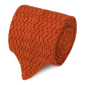 Orange Pointelle-Knit Silk Tie