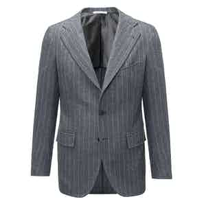 Grey Chalk Stripe VBC Flannel Wool Two Piece Suit