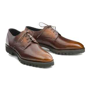 Brown Patinated Pebble Grain Leather Derby Shoe