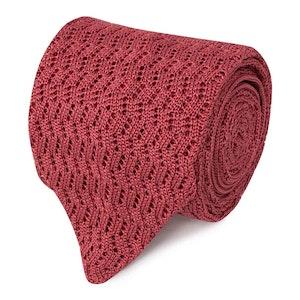 Peach Pointelle-Knit Silk Tie