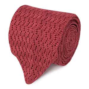 Peach Pointelle-Knit Silk Tie