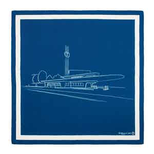 Dark Blue and White Garage Italia Pocket Handkerchief