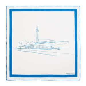 White and Blue Garage Italia Pocket Handkerchief