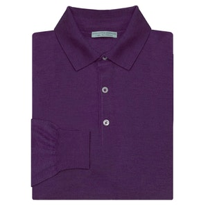 Purple Long Sleeve Cashmere And Silk Polo Shirt
