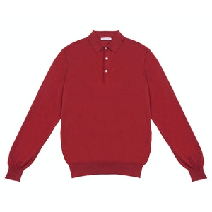 Red Long Sleeve Cashmere And Silk Polo Shirt