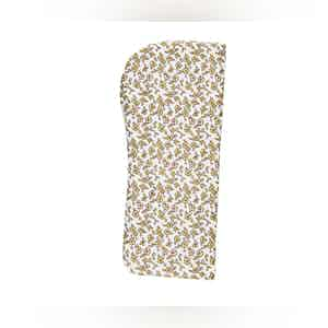 White and Green Floral Silk Glasses Pouch