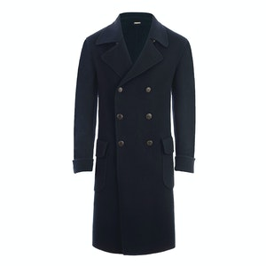 Navy Double-Breasted Cashmere Coat