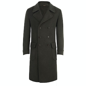 Green Double-Breasted Cashmere Coat