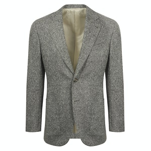 Grey Donegal Tweed Wool 'Iconic Leisure' Single-Breasted Jacket