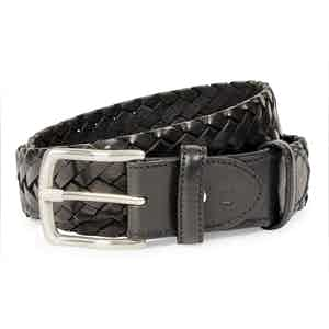 Black Leather Woven Belt