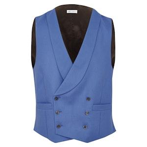 Cornflower Blue Wool V003 Waistcoat With Shawl Collar