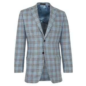 Blue Check Linen Single Breasted Wraysbury Jacket