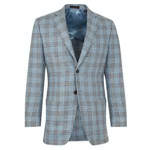Blue Check Linen Single Breasted Wraysbury Jacket