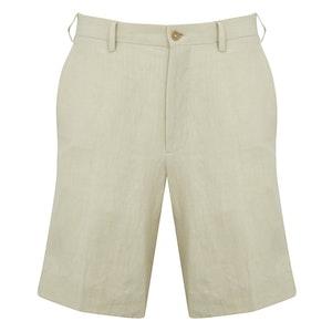 Cream Flat Front Linen Shorts