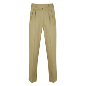 Putty Double-Pleated Cotton Trousers