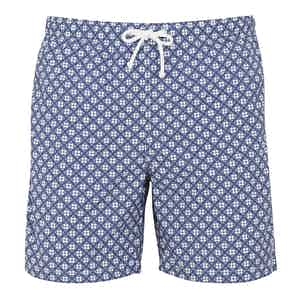 Dark Blue Clover Print Swim Shorts