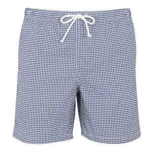 Dark Blue Houndstooth Swim Shorts