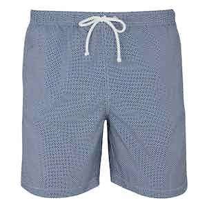 Dark Blue Mini Checkered Print Swim Shorts