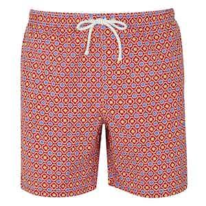 Red and Blue Mosaic Print Swim Shorts