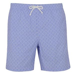 Sky and White Mosaic Print Swim Shorts