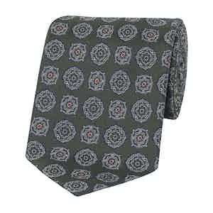 Olive and Blue Silk Floral Pattern Tie