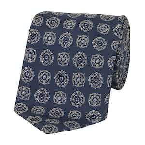 Navy Blue and Cream Silk Floral Pattern Tie