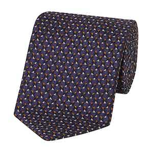 Purple and Orange Silk Triangles Pattern Tie