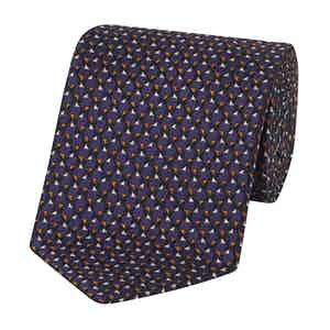 Purple and Orange Silk Triangles Pattern Tie