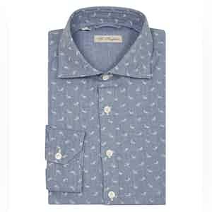 Light Blue Cotton Paisley Polo Shirt