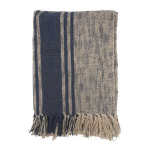 Brown and Blue Striped Cotton Beach Towel