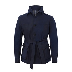Navy Halley Stevensons Waxed-Cotton Tailored Safari Jacket