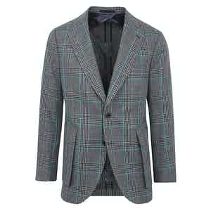Welsh Blue and Green Cotton-Linen Check Jacket