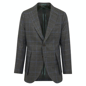 Green, Blue and Grey Cotton-Linen Check Jacket
