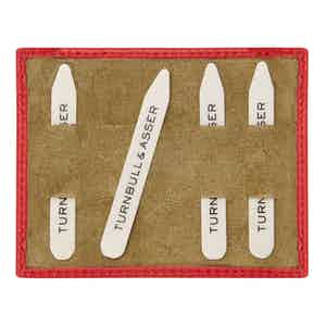 Bone Collar Stays in Red Suede-Lined Olive Leather Tray