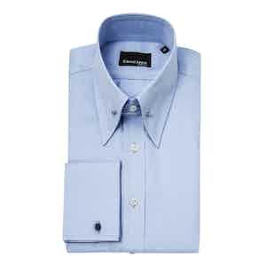 Powder Blue Cotton Regular Fit Shirt with Pin Collar