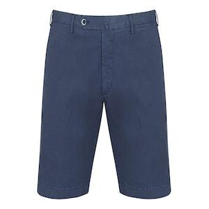 Indigo Blue Washed Cotton Tailored Bermuda Shorts