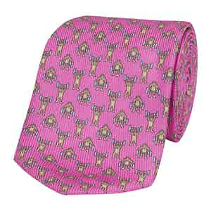 Pink Silk Tie with Gorilla Bodybuilder Print