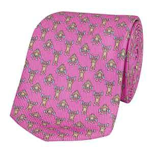 Pink Silk Tie with Gorilla Bodybuilder Print