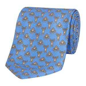 Blue Silk Tie with Gorilla Bodybuilder Print