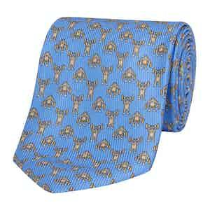 Blue Silk Tie with Gorilla Bodybuilder Print