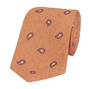 Orange Silk-Linen Nizza Tie with Navy and White Paisley