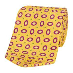Yellow Silk Tie with Purple Hoop Print