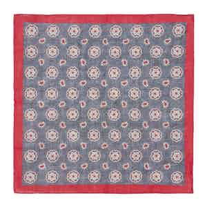Red and Denim Daisy-Paisley Linen Pocket Square