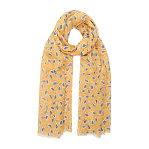 Yellow Linen Scarf with Blue Paisley Petals
