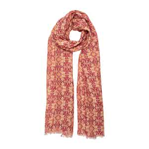 Pink Paisley and Yellow Daisy Linen Scarf