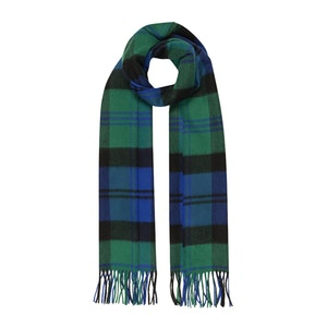 Blue and Green Lofty Baird Tartan Cashmere Scarf