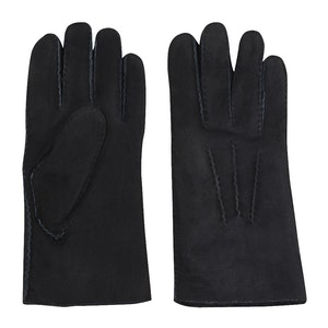 Navy Leather Suede Shearling Gloves