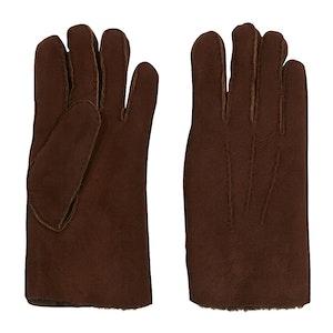 Espresso Brown Suede Shearling Gloves