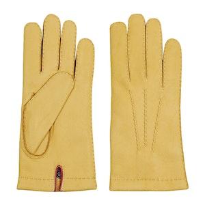 Yellow Buckskin Leather Gloves