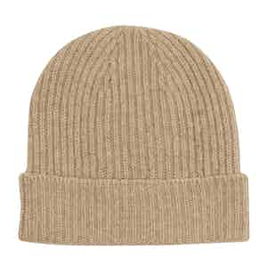 Camel Cashmere Knit Beanie Hat
